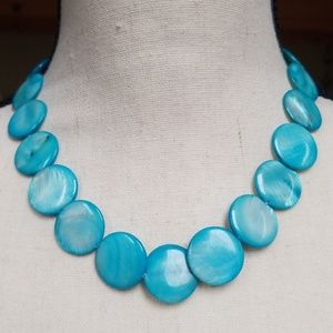 ☀️Vintage Aqua Shell Coin Necklace EUC